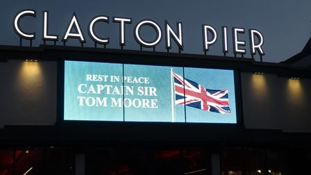 Clacton Pier pays tribute to Captain Sir Tom Moore, who has sadly died aged 100.