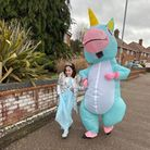 Spencer Lennon, 14, surprised his younger sister Tamara, 9, with an inflatable unicorn costume on her birthday. They took a stroll together close to where they live in Wymondham.