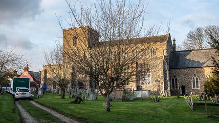 Film crews have been spotted at Debenham Church. Picture: SARAH LUCY BROWN