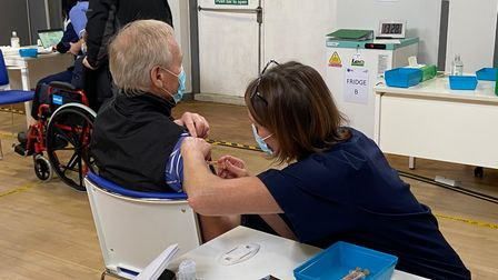 William Hoggan, from Pulham St Mary, at the new coronavirus vaccination centre at Connaught Hall in Attleborough