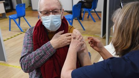 Alan Muse, from Diss, receiving his COVID-19 vaccination at the new mass vaccination centre at Conna