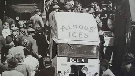The very popular Aldous Ices van at Norwich Market. It has since become Lakenham Creamery, and is marking its 100th birthday.