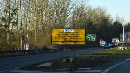 Resurfacing works have been ongoing on the A14 just outside Ipswich