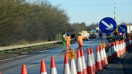 A contraflow system is in place on the A14 at Ipswich but wasn't in Trimley