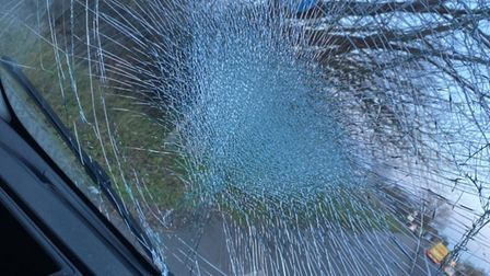 A brick was thrown at a van on the A12 near Witham.