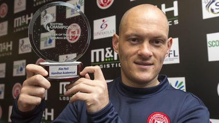 Hamilton Academical manager Alex Neil collects his SPFL manager of the month award at New Douglas Pa