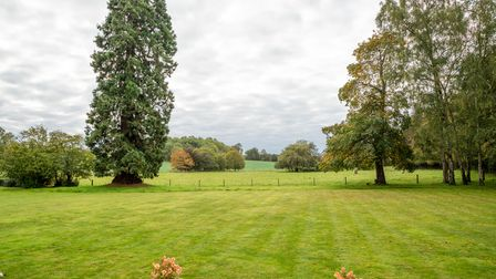 Photograph overlooking bright green lawns and large leafy trees in the foreground