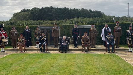 The regimental colonel, Brigadier Alan Richmond, met CaptainTom at the AFC Harrogate Pass Off Parade in September 2020.