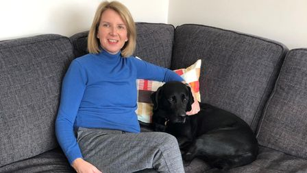Dr Mills at home with Ralph, who has also made a great recovery following the accident