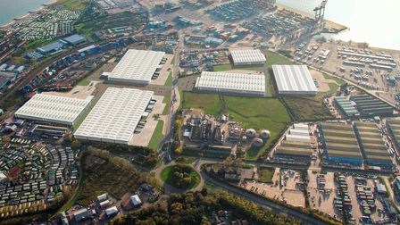 A CGI showing how the new Port of Felixstowe Logistics Park could look. The logistics park is part of the plans for the...