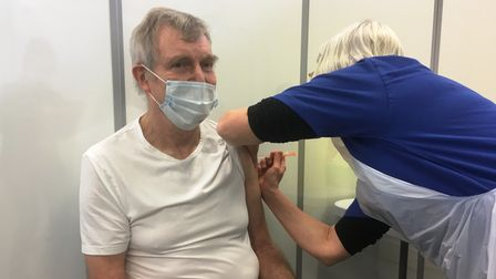 Richard Bird was among the first to be vaccinated at the former River Walk School in Bury St Edmunds
