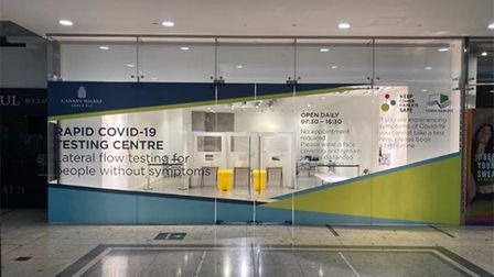 The new Covid-19 rapid testing site at Canary Wharf.