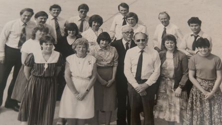Captain Sir Tom Moore (front row with dark glasses) and some of his team from March Concrete, the company he saved.