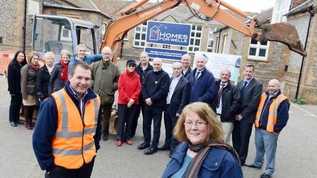 FlASHBACK: Building work on the Homes for Wells project began in March. Chairman Anne Phillips (fron