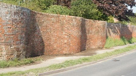 The repaired crinkle crankle wall at Easton.