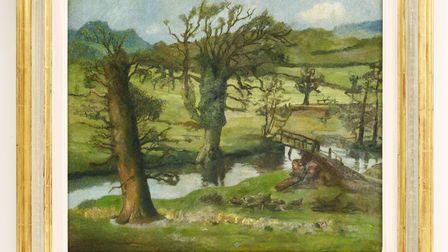 This Edward Bawden painting is a scene of typical East Anglian life