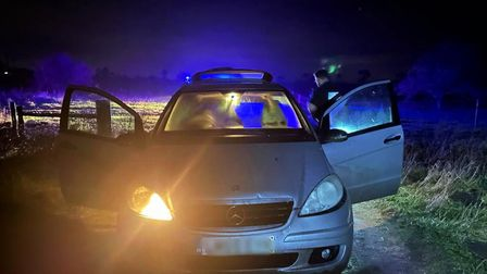 A man has been arrested after police chased a Mercedes from Methwold to Lakenheath