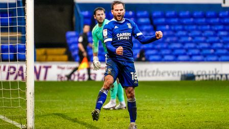 Alan Judge celebrates after scoring his first half goal to give Town a 1-0 lead.