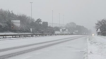 The A12 at Woodbridge has been covered in a blanket of white