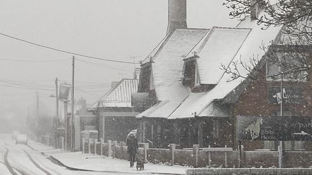 A dog walker takes her dog for a stroll in the snow outside the White Horse pub, Church Road, Old Felixstowe