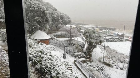 Seafront gardens at Felixstowe in the snow today