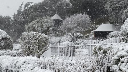 The Spa Gardens at Felixstowe in the snow today