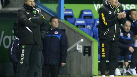 Neil Adams and first-team coach Mike Phelan during Norwich City's Sky Bet Championship match at the