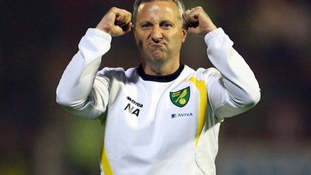 Neil Adams celebrates Norwich City's 3-0 win at Brentford. Picture by Paul Chesterton/Focus Images L