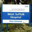 File photo dated 16/11/02 of a sign at West Suffolk Hospital In Bury St Edmunds, as a manhunt was un