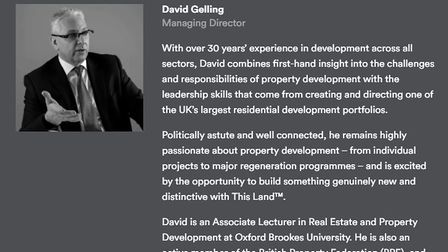 David Gelling, who has left his £150,000 position heading up This Land Ltd. His biography remains on their website