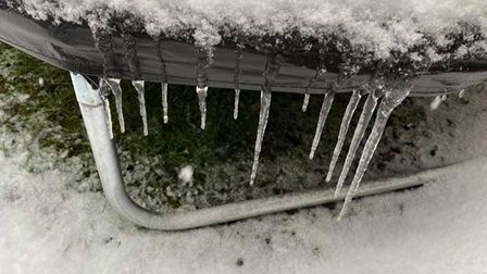 Icicles hanging from a trampoline