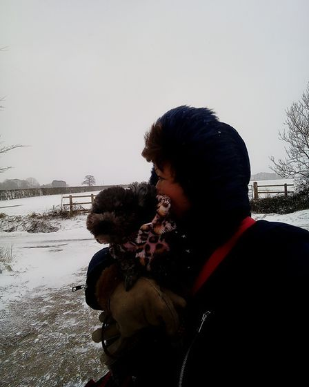 Jean Everett out with her dog in Shipdham