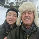Keith and Marina Richmond, who got stuck in the Storm Darcy snow near Aldeburgh