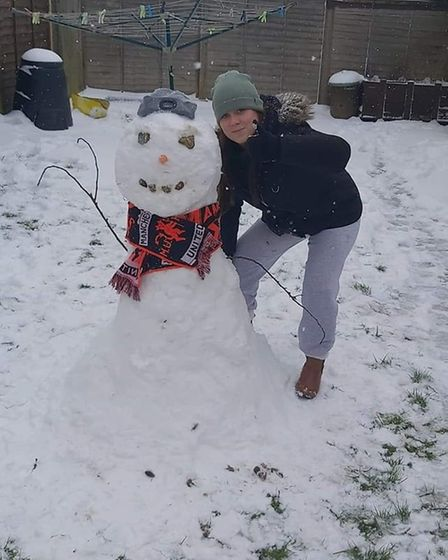 Bethany and her snowman