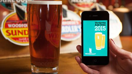 Woodforde's Ale Trail App and a pint of Woodfordes Wherry.