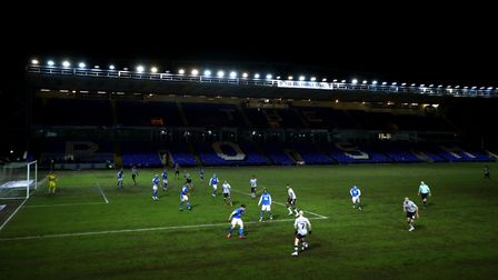 A general view of the players in action during the Sky Bet League One match at Weston Homes Stadium,