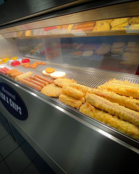 A selection of food from Ravenswood Fish and Chips, including sausages, fish and pies.