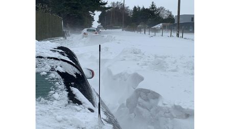 Snow drifts have accumulated to great heights in east Suffolk, pictured is Leiston Road in Aldeburgh