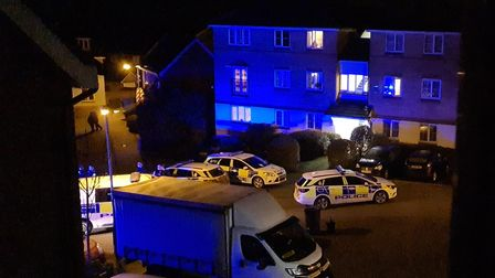 Police at the scene of an incident on Horn-Pie Road in Bowthorpe