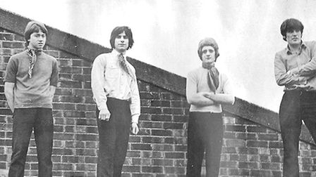 This picture of Norwich band Eyes of Blond was taken on the flat roof at the front of the Melody Roo