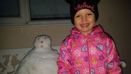 Children across the county made the most of the weather to build snowmen