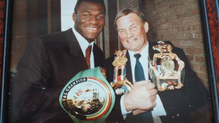 Boxers George Blazeby and Herbie Hide smiling at the camera with medals