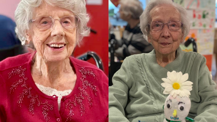Eileen Leech, 102, and Dorothy Edwards, 101, are both still smiling despite having caught the coronavirus. Picture...