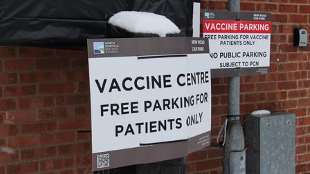 The vaccine centre at North Walsham Community Centre reopened today despite heavy snow.