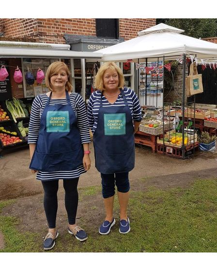 Orford General Store manager Sue Cox and owner Sue Snowdon, in a photo taken before the Covid-19 pandemic
