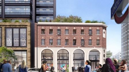 Proposed tower inWhitechapel seen behind Victorian frontage