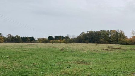 The former farmland in Creeting St Mary which has permission for 43 new homes.