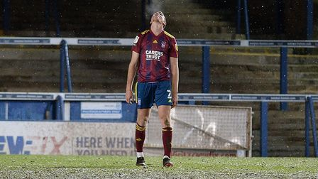 Mark McGuinness is really disappointed win the final whistle at Peterborough. Picture Pagepix Ltd