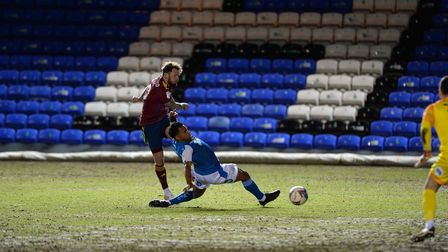 James Norwood scores Ipswich's opening goal at Peterborough. Picture Pagepix Ltd