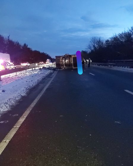 A12 Colchester overturned lorry